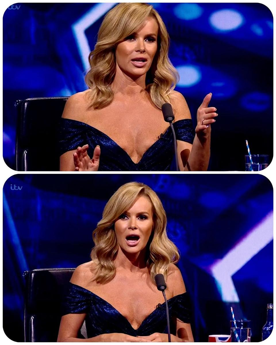 Some viewers thought the 49-year-old's strapless dress revealed a little too much. Photo: ITV.