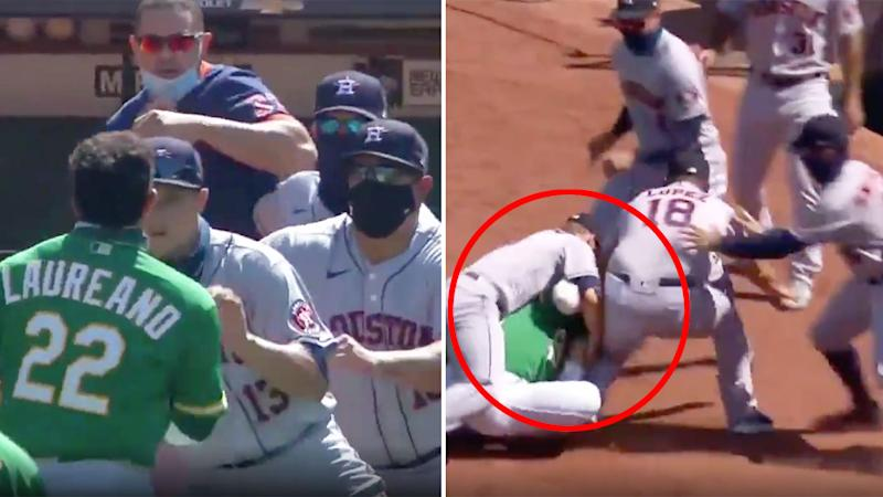 Pictured here, Ramón Laureano gets tackled by Dustin Garneau after a wild MLB melee.