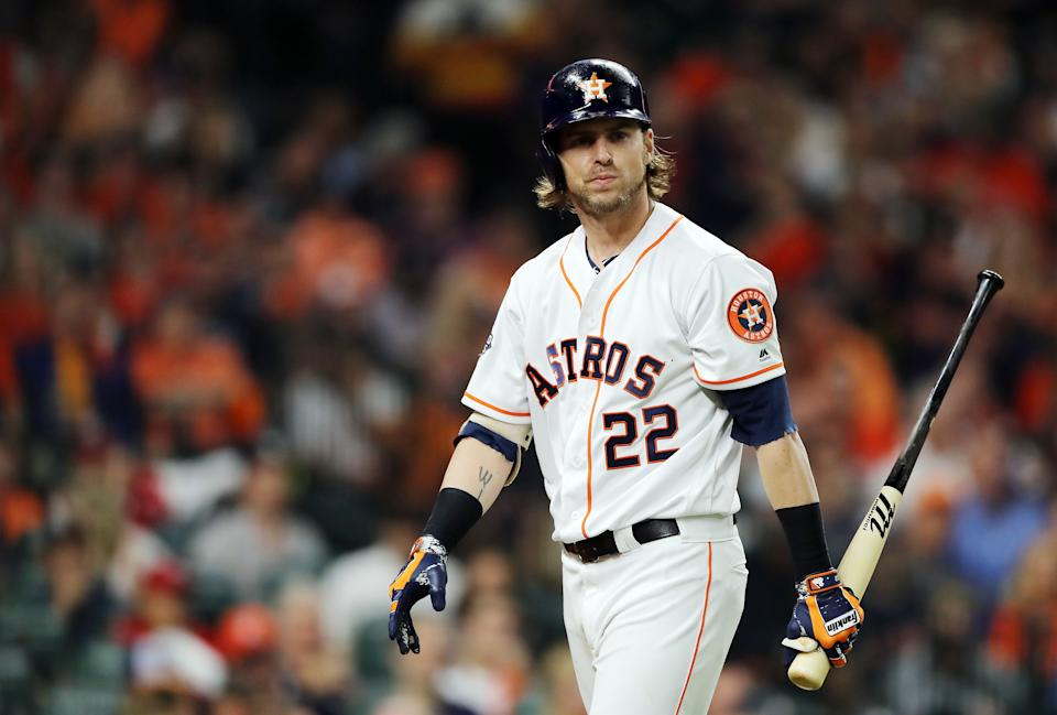 HOUSTON, TEXAS - OCTOBER 29:  Josh Reddick #22 of the Houston Astros reacts after striking out against the Washington Nationals during the third inning in Game Six of the 2019 World Series at Minute Maid Park on October 29, 2019 in Houston, Texas. (Photo by Elsa/Getty Images)