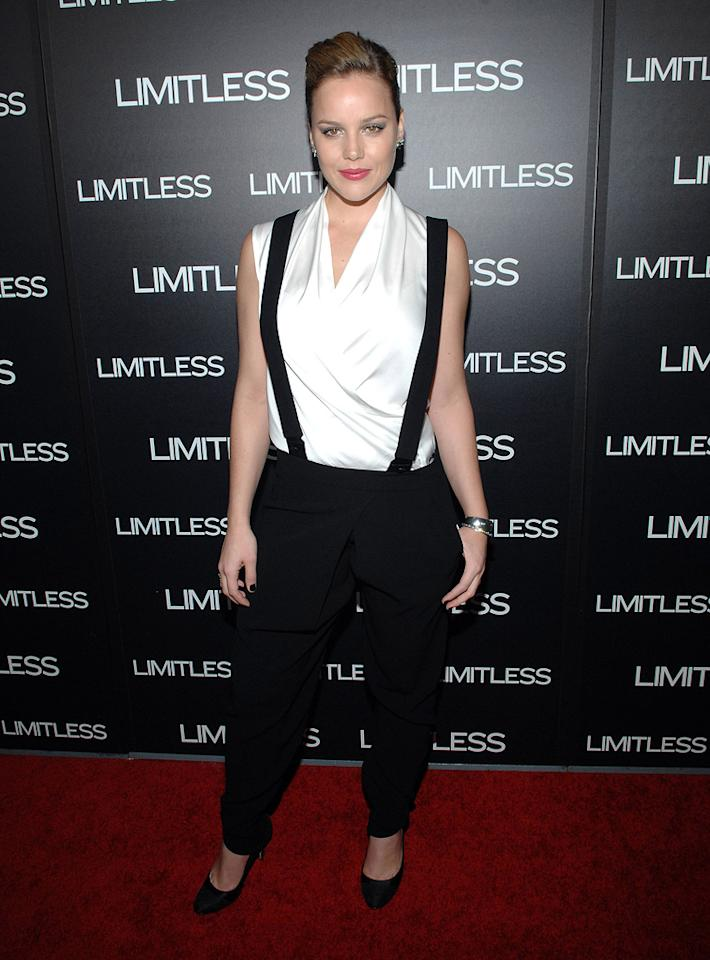 """Abbie Cornish's menswear-inspired ensemble is an unfortunate choice for the busty blonde at the Los Angeles premiere of """"Limitless"""" on March 3, 2011."""