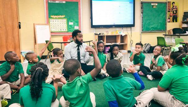 PHOTO: Sammy Rigaud, a second-grade teacher at The Kindezi School at Old Fourth Ward in Atlanta, Georgia, teaches in the classroom to students. (Courtesy Sammy Rigaud)