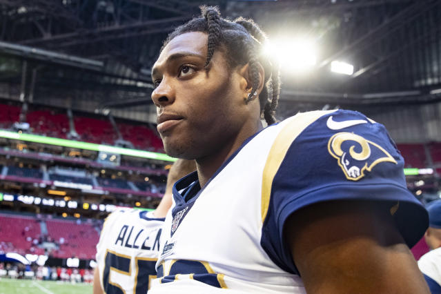 Jalen Ramsey of the Los Angeles Rams heads off the field following the game against the Atlanta Falcons at Mercedes-Benz Stadium on October 20, 2019 in Atlanta, Georgia. (Carmen Mandato/Getty Images)