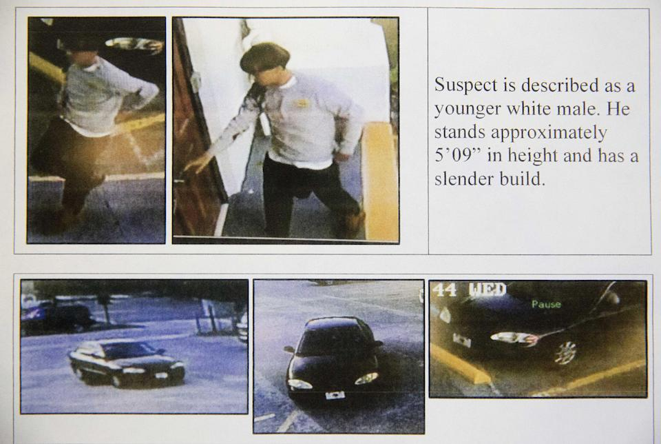 Images on a flier provided to media show surveillance footage of the suspect wanted in connection with the Charleston, S.C. church slayings. (Charleston Police Department via AP)