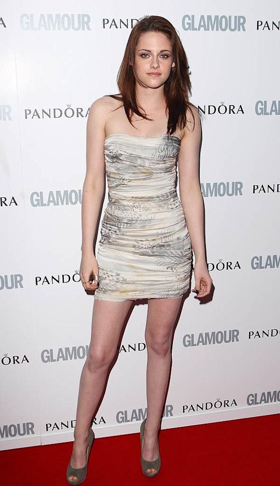 """""""Twilight"""" star Kristen Stewart put on her usual pout for the camera while posing in a super-duper mini dress by Balmain. Mike Marsland/<a href=""""http://www.wireimage.com"""" target=""""new"""">WireImage.com</a> - June 7, 2011"""