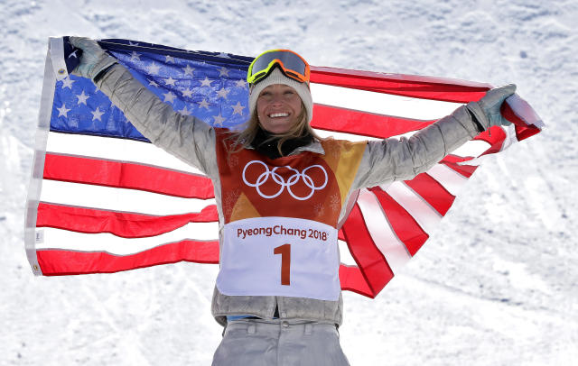 Jamie Anderson celebrates after winning her second consecutive slopestyle gold medal. (AP)