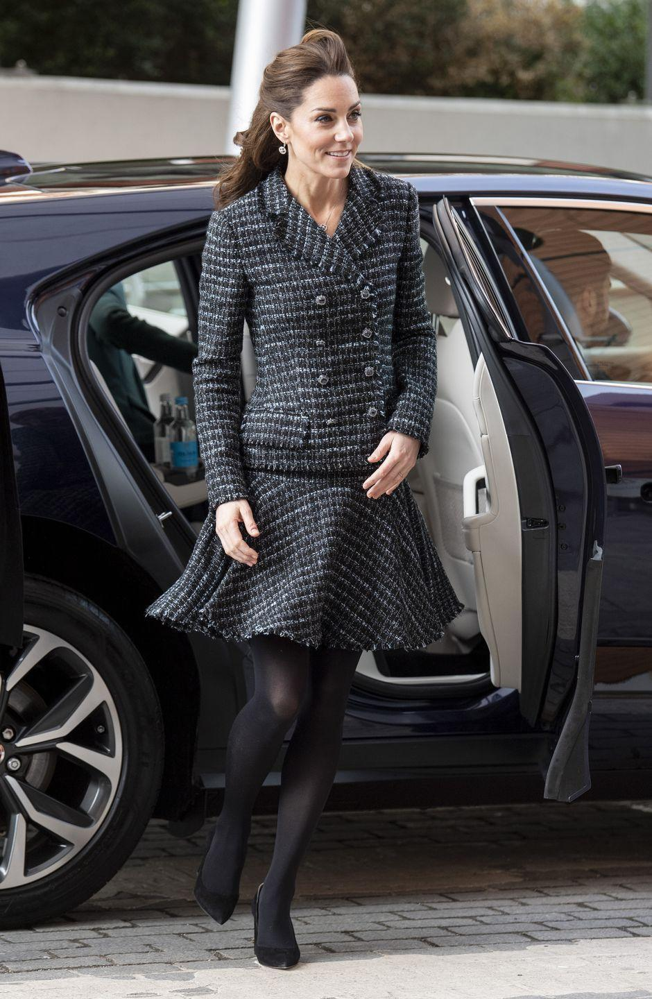 """<p>The Duchess arrived at <a href=""""https://www.townandcountrymag.com/society/tradition/a30686555/kate-middleton-dolce-gabbana-skirt-suit-evelina-photos/"""" rel=""""nofollow noopener"""" target=""""_blank"""" data-ylk=""""slk:Evelina Children's Hospital to attend a workshop run by the National Portrait Gallery"""" class=""""link rapid-noclick-resp"""">Evelina Children's Hospital to attend a workshop run by the National Portrait Gallery</a>, wearing a Dolce & Gabbana skirt suit and <a href=""""https://go.redirectingat.com?id=74968X1596630&url=https%3A%2F%2Fwww.net-a-porter.com%2Fus%2Fen%2Fproduct%2F1202165&sref=https%3A%2F%2Fwww.townandcountrymag.com%2Fstyle%2Ffashion-trends%2Fnews%2Fg1633%2Fkate-middleton-fashion%2F"""" rel=""""nofollow noopener"""" target=""""_blank"""" data-ylk=""""slk:Gianvito Rossi pumps"""" class=""""link rapid-noclick-resp"""">Gianvito Rossi pumps</a>.</p>"""