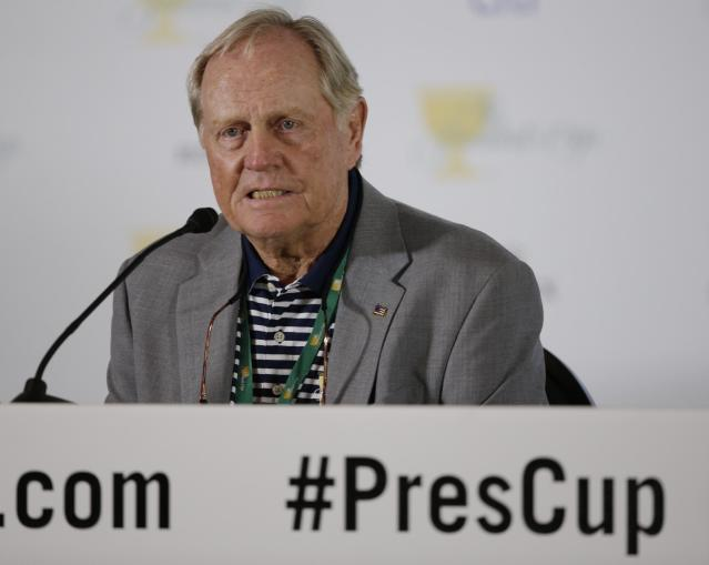 Jack Nicklaus responds to a question during a news conference at the Presidents Cup golf tournament at Muirfield Village Golf Club Tuesday, Oct. 1, 2013, in Dublin, Ohio. (AP Photo/Darron Cummings)