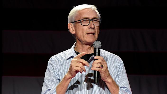 Then Democratic gubernatorial candidate Tony Evers speaks at an election eve rally in Madison, Wisconsin, U.S. November 5, 2018. (Nick Oxford/Reuters)