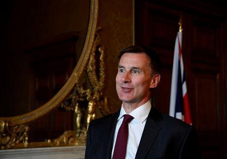 FILE PHOTO: Britain's Foreign Secretary Jeremy Hunt speaks with Reuters at the Foreign Office in London, Britain May 7, 2019. REUTERS/Toby Melville/File Photo