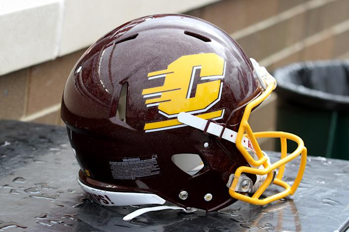 A Central Michigan Chippewas helmet