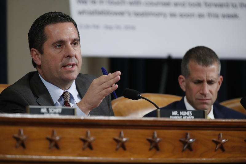 Ranking member Rep. Devin Nunes of Calif., questions Ambassador Kurt Volker, former special envoy to Ukraine, and Tim Morrison, a former official at the National Security Council. (Photo: Alex Brandon/AP)