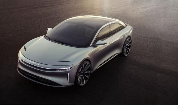 The Lucid Air prototype, a sleek silver full-size luxury sedan.