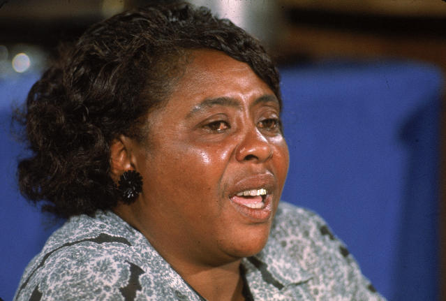 "American civil rights leader Fannie Lou Hamer testifies on behalf of the Mississippi Freedom Democratic Party, which had been denied seats at the convention by organizers acting on behalf of the ""regular"" Mississippi Democratic Party's delegation. (John Dominis via Getty Images)"