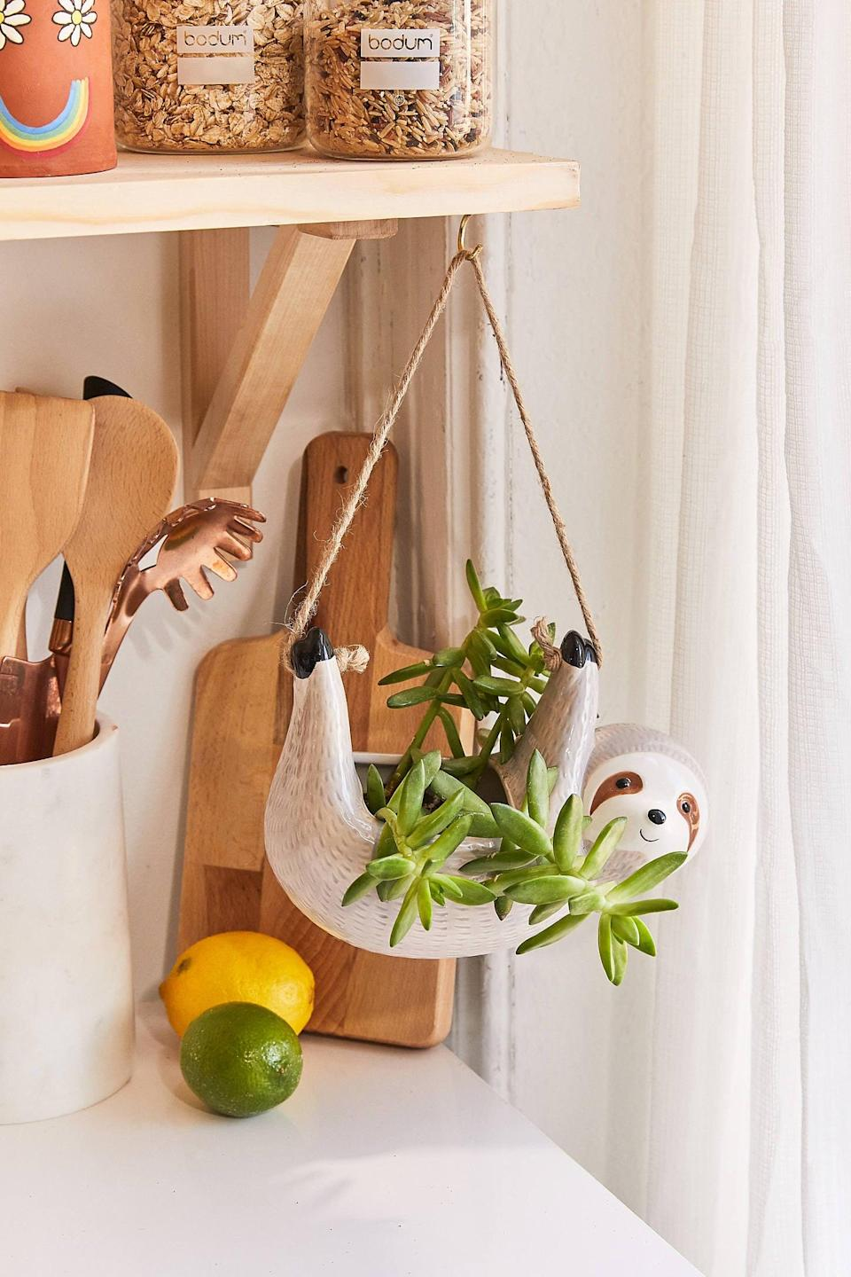 """<p>We all know someone who needs this <a href=""""https://www.popsugar.com/buy/Sloth-Hanging-Planter-555098?p_name=Sloth%20Hanging%20Planter&retailer=urbanoutfitters.com&pid=555098&price=18&evar1=casa%3Aus&evar9=47315088&evar98=https%3A%2F%2Fwww.popsugar.com%2Fhome%2Fphoto-gallery%2F47315088%2Fimage%2F47315178%2FSloth-Hanging-Planter&list1=shopping%2Curban%20outfitters%2Capartments%2Csmall%20space%20living%2Capartment%20living%2Chome%20shopping&prop13=mobile&pdata=1"""" class=""""link rapid-noclick-resp"""" rel=""""nofollow noopener"""" target=""""_blank"""" data-ylk=""""slk:Sloth Hanging Planter"""">Sloth Hanging Planter</a> ($18) in their life.</p>"""