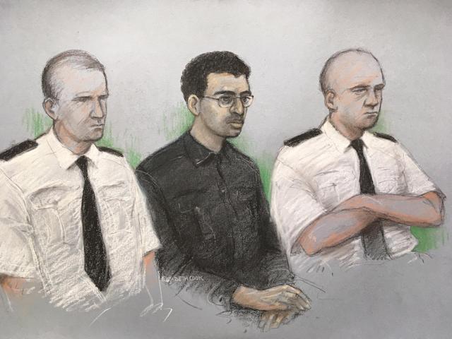 Court artist sketch by Elizabeth Cook of Hashem Abedi, younger brother of the Manchester Arena bomber, in the dock at the Old Bailey in London accused of mass murder. (PA Images)