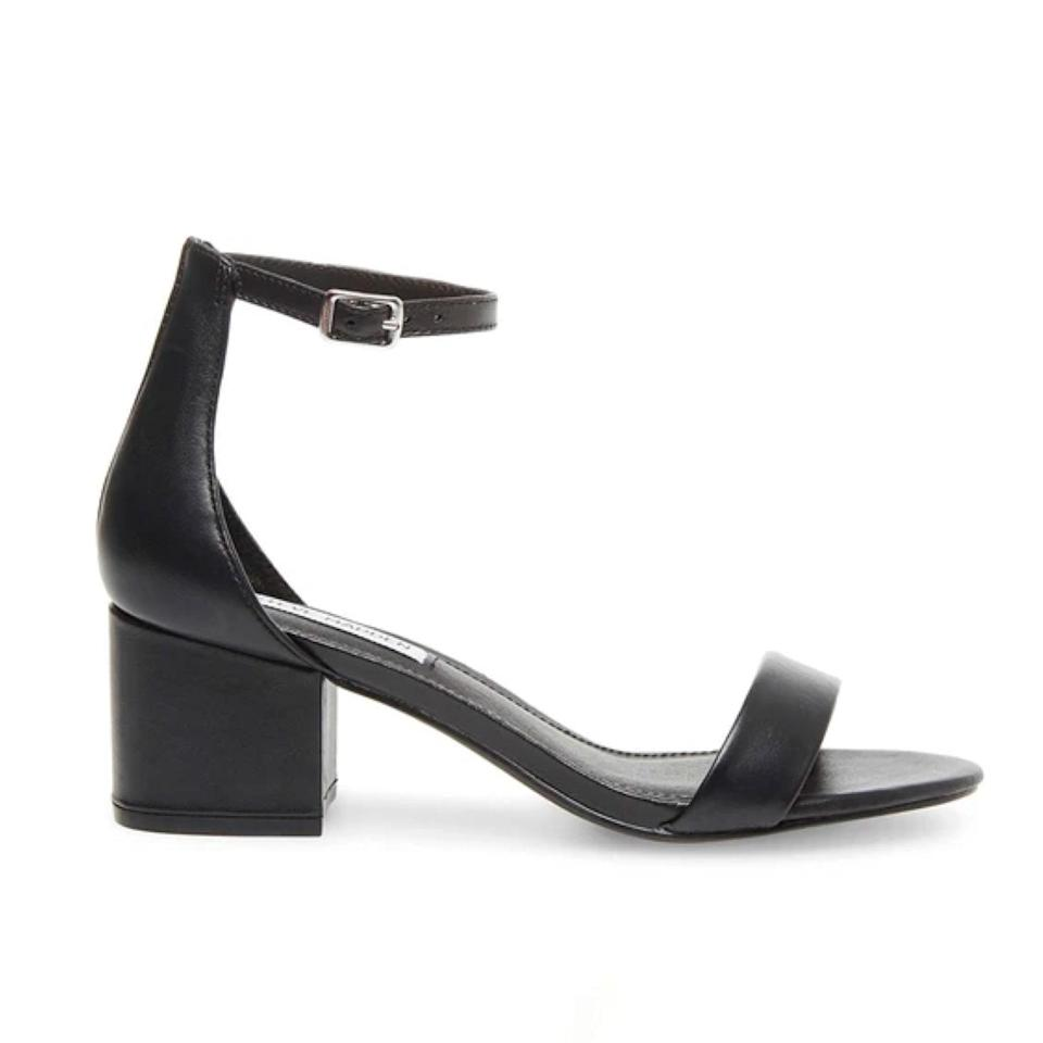 """Simple yet stunning, these block heels can go with practically anything. You'll want to wear them long after the event. $85, Steve Madden. <a href=""""https://www.stevemadden.com/products/irenee-black-leather"""" rel=""""nofollow noopener"""" target=""""_blank"""" data-ylk=""""slk:Get it now!"""" class=""""link rapid-noclick-resp"""">Get it now!</a>"""
