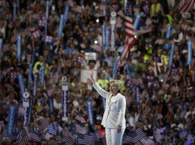 Hillary Clinton waves as she arrives onstage to accept the nomination at the Democratic National Convention in Philadelphia, July 28, 2016. (Photo: Gary Cameron/Reuters)