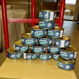 Cans of Pacific Albacore Tuna ready for distribution - credit Tofino Resort + Marina