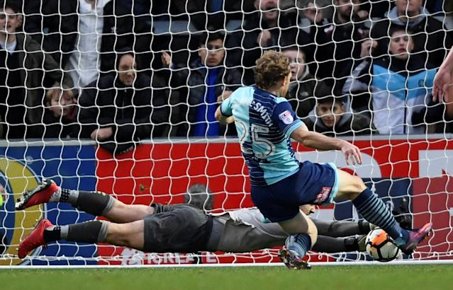 Soccer Football - FA Cup Second Round - Blackburn Rovers vs Crewe Alexandra - Ewood Park, Blackburn, Britain - December 3, 2017 Wycombe Wanders' Craig Mackail-Smith scores their second goal Action Images/Carl Recine