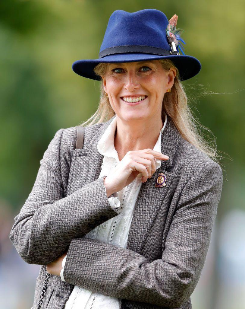 <p>Sophie the Countess of Wessex attended the Royal Windsor Horse Show in Home Park in a classic tweed topper, which she paired with a blue felt hat.</p>