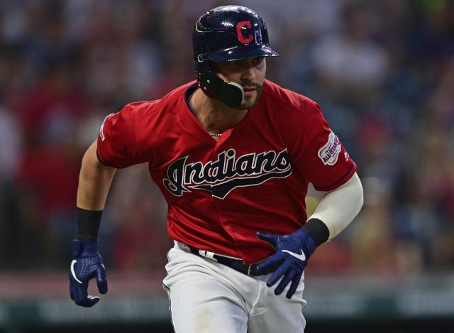 Cleveland Indians' Tyler Naquin runs after hitting a two-RBI double in the sixth inning of a baseball game against the Detroit Tigers, Monday, July 15, 2019, in Cleveland. Roberto Perez and Mike Freeman scored on the play. (AP Photo/David Dermer)