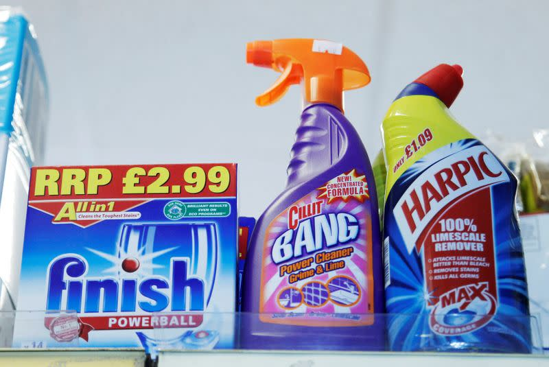 FILE PHOTO: Products made by Reckitt Benckiser stand on a shelf in a store in Brighton southern England