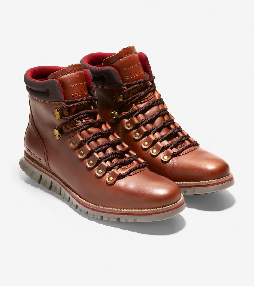 """If you want to earn extra cool sister points this year, we suggest investing in a pair of sturdy hiking boots on his behalf. <br><br><strong>Cole Haan</strong> ZERØGRAND Hiker Boot, $, available at <a href=""""https://go.skimresources.com/?id=30283X879131&url=https%3A%2F%2Fwww.colehaan.com%2Fzerogrand-hiker-boot-british-tan-leather%2FC33471.html"""" rel=""""nofollow noopener"""" target=""""_blank"""" data-ylk=""""slk:Cole Haan"""" class=""""link rapid-noclick-resp"""">Cole Haan</a>"""