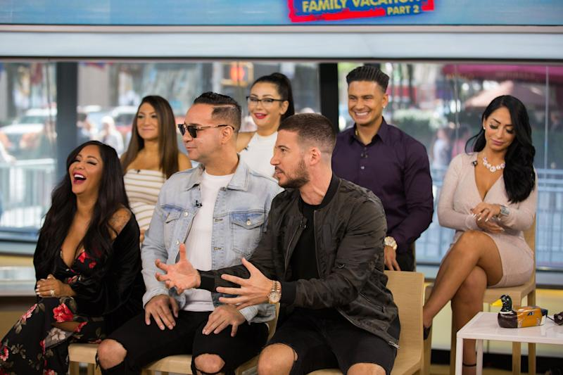 TODAY -- Pictured: Jersey Shores (front row l-r) Nicole Polizzi, Michael Sorrentino, Vinny Guadagnino (back row l-r) Deena Nicole Cortese, Jennifer Farley, Paul DelVecchio, Angelina Pivarnick on Thursday, August 23, 2018 -- (Photo by: Nathan Congleton/NBC/NBCU Photo Bank via Getty Images)