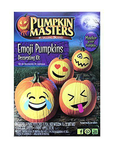 """<p><strong>Pumpkin Masters</strong></p><p>amazon.com</p><p><strong>$8.61</strong></p><p><a href=""""https://www.amazon.com/dp/B074V8D9JG?tag=syn-yahoo-20&ascsubtag=%5Bartid%7C10050.g.22133548%5Bsrc%7Cyahoo-us"""" rel=""""nofollow noopener"""" target=""""_blank"""" data-ylk=""""slk:Shop Now"""" class=""""link rapid-noclick-resp"""">Shop Now</a></p><p>This kit comes with everything you need to turn pumpkins into emoji masterpieces, including paint, paint applicator, and stickers.</p>"""
