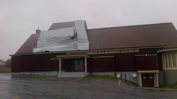 A new church roof on Munday Pond Road was stripped off by winds from tropical storm Leslie.
