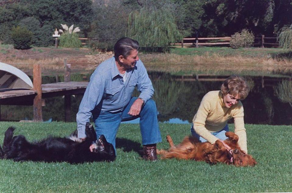 <p>Also at their ranch, the couple played with First Dogs, Victory and Millie.</p>