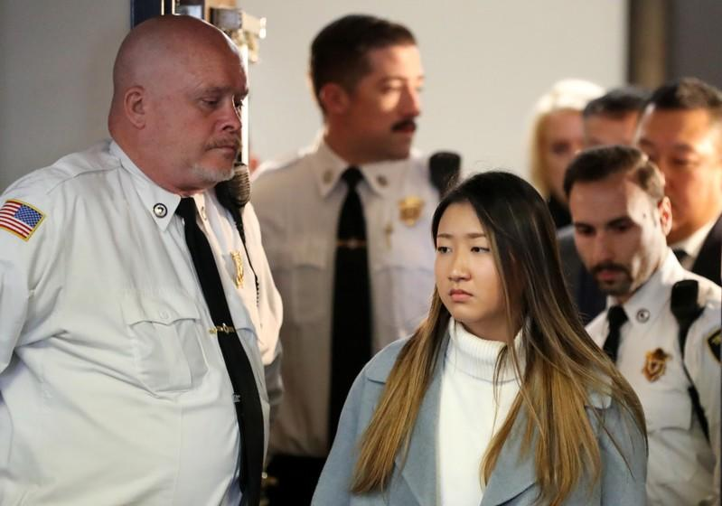 Inyoung You, a former Boston College student from South Korea, arrives in court in Boston