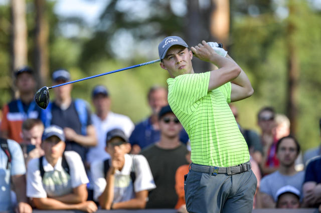 England's Matthew Fitzpatrick tees off during the PGA European Tour golf tournament Scandinavian Invitation at Hills Golf & Sports Club in Molndal, Sweden, Sunday Aug. 25, 2019. (Anders Wiklund/TT via AP)