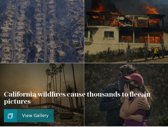 California wildfires cause thousands to flee, in pictures
