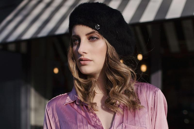This week: Rosie wears shirt by Cloe Cassandro and beret by Charlotte Simon: Rosie Fortescue