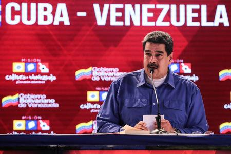 Venezuela's President Maduro attends an event regarding the Cuba-Venezuela Comprehensive Agreement in Caracas