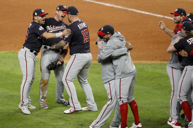 Washington Nationals celebrates after Game 7 of the baseball World Series against the Houston Astros Wednesday, Oct. 30, 2019, in Houston. The Nationals won 6-2 to win the series. (AP Photo/Sue Ogrocki)