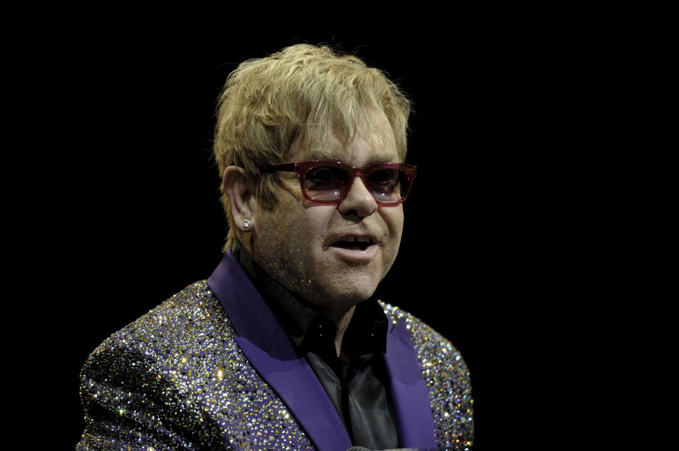 """MIAMI, FL- APRIL 15: (FILE) Elton John 3/9/12 to perform at The Lady Gaga-curated """"One World Together at Home"""" event on Saturday April 18, 2020 which is a joint effort between the Oscar-winning singer, the World Health Organization and Global Citizen to bring together some of today�s biggest musicians and celebrities to celebrate health-care workers on the frontline of the pandemic and to raise awareness for the WHO�s COVID-19 Solidarity Response Fund. April 15, 2020 (Photo by Ron Elkman/USA TODAY NETWORK/Sipa USA)"""