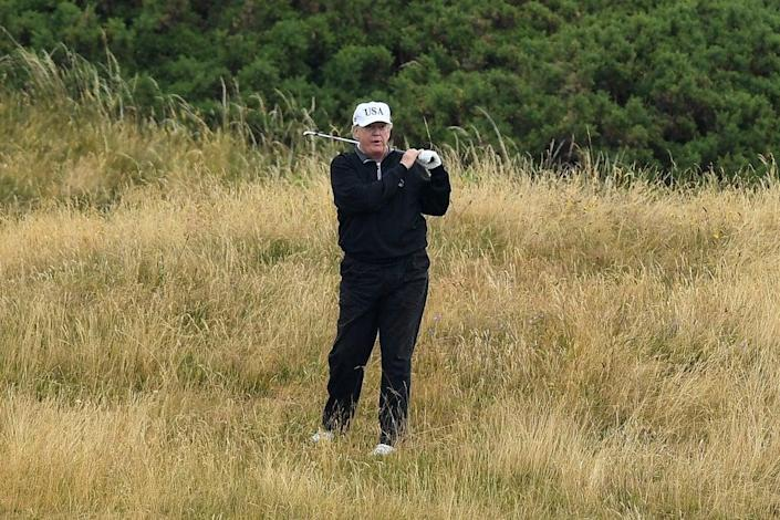 Donald Trump plays a round of golf at Trump Turnberry Luxury Collection Resort during the US President's first official visit to the United Kingdom on July 15, 2018 in Turnberry, Scotland. (Getty Images)