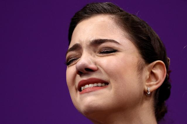 <p>Silver medal winner Evgenia Medvedeva of Olympic Athlete from Russia reacts after competing during the Ladies Single Skating Free Skating on day fourteen of the PyeongChang 2018 Winter Olympic Games at Gangneung Ice Arena on February 23, 2018 in Gangneung, South Korea. (Photo by Maddie Meyer/Getty Images) </p>
