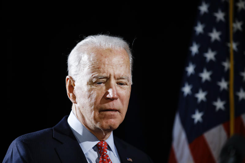 """FILE - In this March 12, 2020, file photo Democratic presidential candidate former Vice President Joe Biden arrives to speak about the coronavirus in Wilmington, Del. Biden says he would like to be a """"transition"""" from President Donald Trump to younger, rising Democratic stars. (AP Photo/Matt Rourke, File)"""
