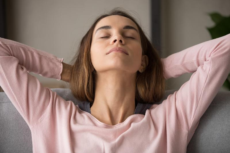 woman relaxes as guide for soothing anxiety during coronavirus pandemic in Australia