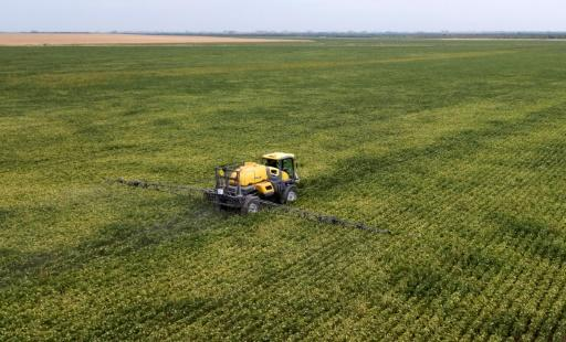 A soybean field is fumigated in Entre Rios Province, Argentina, which in 2019, was the world's largest exporter of soybean flour and soybean oil