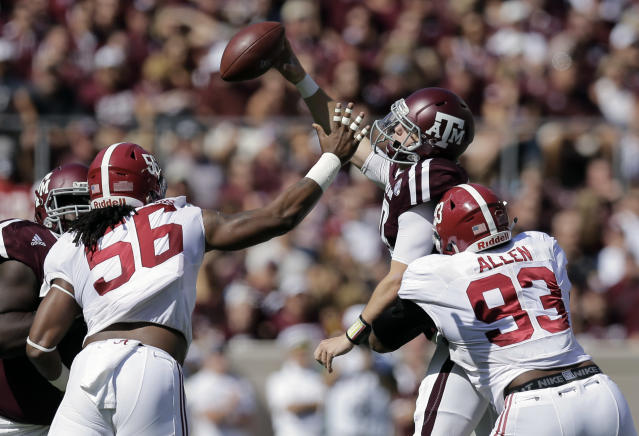 Kyle Allen's time at Texas A&M was effectively shortened after throwing three pick-6's against Alabama. (AP)
