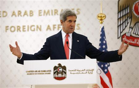 U.S. Secretary of State John Kerry speaks at a news conference in Abu Dhabi