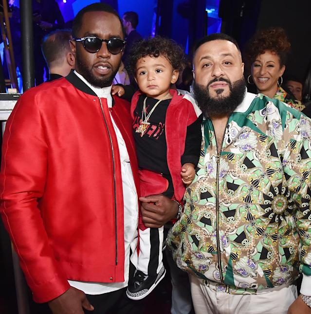 <p>At the ripe old age of one, Asahd Tuck Khaled has alreaady hob-nobbed with more celebriities than we could ever dream of being in the same room with. Here he is posing with his pop, DJ Khaled, while being held by P. Diddy backstage at the iHeartRadio Music Awards on Sunday. Wait til the kids at daycare hear about this! (Photo: Kevin Mazur/Getty Images for iHeartMedia) </p>