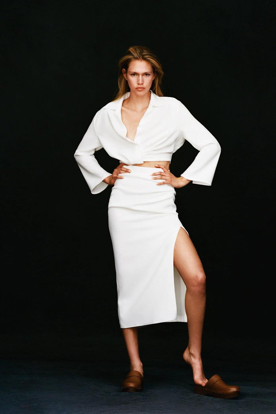 <p>We adore the <span>Zara Draped Pencil Skirt</span> ($50) and <span>Pleated Crop Top</span> ($50) styled together. Each piece is versatile enough to mix and match with so many other items though.</p>