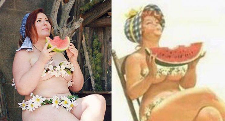 Instagrammer re-creates a sexy pinup cartoon from the 1950s.