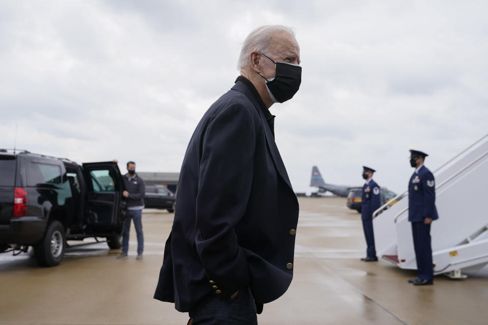 President Joe Biden speaks with members of the press before Air Force One at Delaware Air National Guard Base in New Castle, Del., Sunday, March 28, 2021. Biden is returning to Washington after spending the weekend at his home in Delaware. (AP Photo/Patrick Semansky)