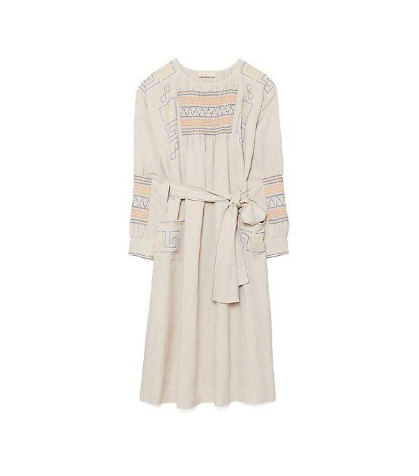 """<p><strong>Tory Burch</strong></p><p>toryburch.com</p><p><strong>$448.00</strong></p><p><a href=""""https://go.redirectingat.com?id=74968X1596630&url=https%3A%2F%2Fwww.toryburch.com%2Fsmocked-dress%2F75188.html&sref=https%3A%2F%2Fwww.townandcountrymag.com%2Fstyle%2Fg36049039%2Fbest-linen-dresses-women%2F"""" rel=""""nofollow noopener"""" target=""""_blank"""" data-ylk=""""slk:Shop Now"""" class=""""link rapid-noclick-resp"""">Shop Now</a></p><p>The embroidery on this belted smocked dress is as lovely as can be. </p>"""